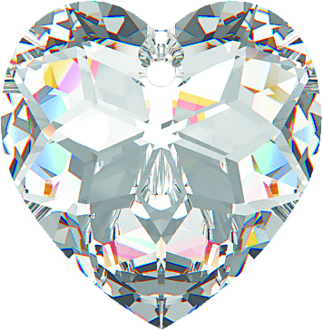 Butterfly crystal AB heart - 18mm x 2