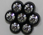 7 off Crystal Buttons with black shank 14mm